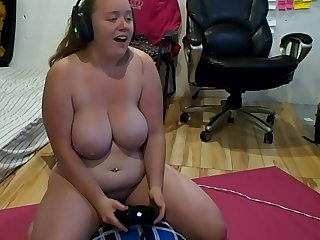 Hot Gamer Girl Cums Multiple Times Playing Video Games